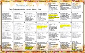 Palm Cottages - Assisted Living Calendar