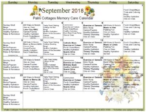 Palm Cottages - Memory Care Calendar